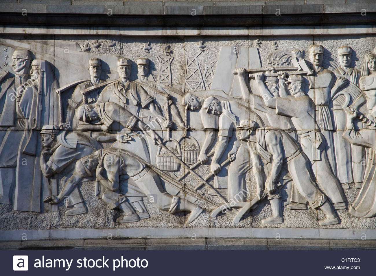 Urumqi, Xinjiang, Peoples Square, Monument to the Peoples Liberation Armys March into Xinjiang - Stock Image