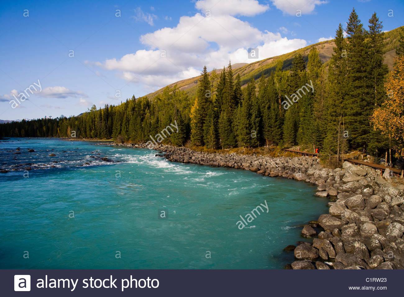 Kanas Lake, Altay Mountains, Xinjiang, China Stock Photo