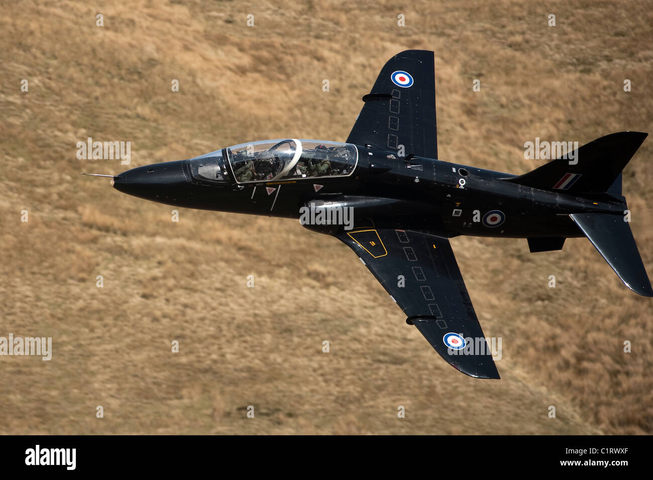 A Hawk jet trainer aircraft of the Royal Air Force. Stock Photo
