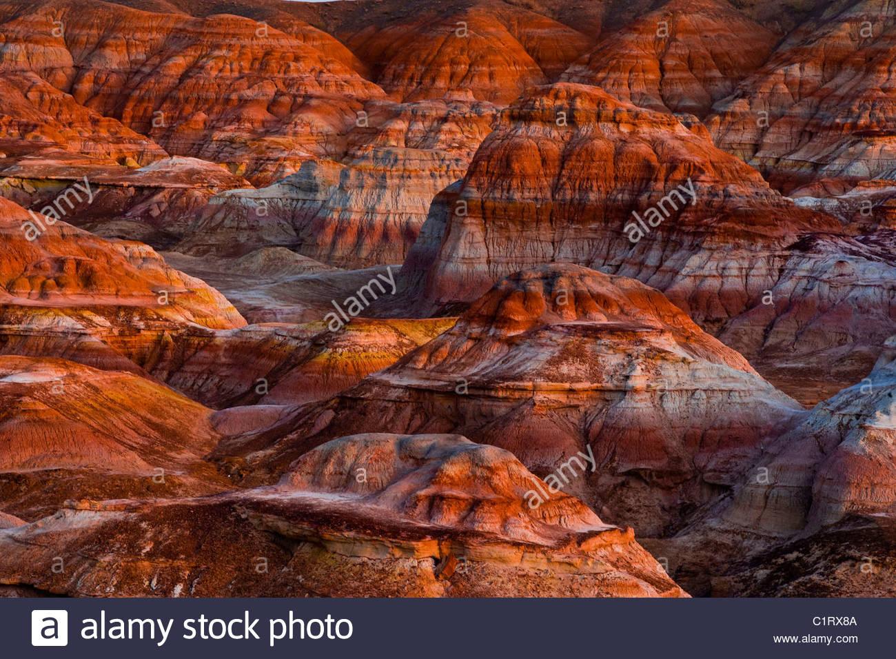 Wucaiwan Colorful Rock City, Gobi Desert, Xinjiang, China - Stock Image