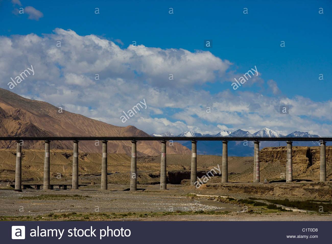 Mt Kunlun, Qinghai Tibet Railway, Qinghai, China - Stock Image