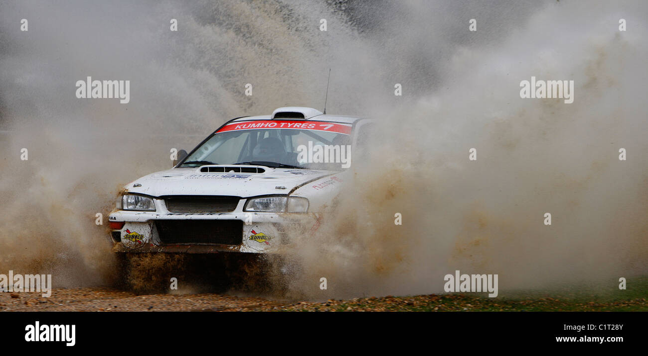 A water splash on Rallye Sunseeker 2011. - Stock Image