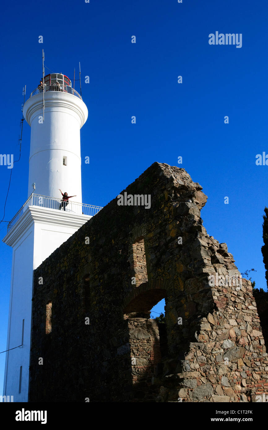Lighthouse and ruins of the 17thC Convent of San Francisco, Colonia del Sacramento, Uruguay, South America - Stock Image