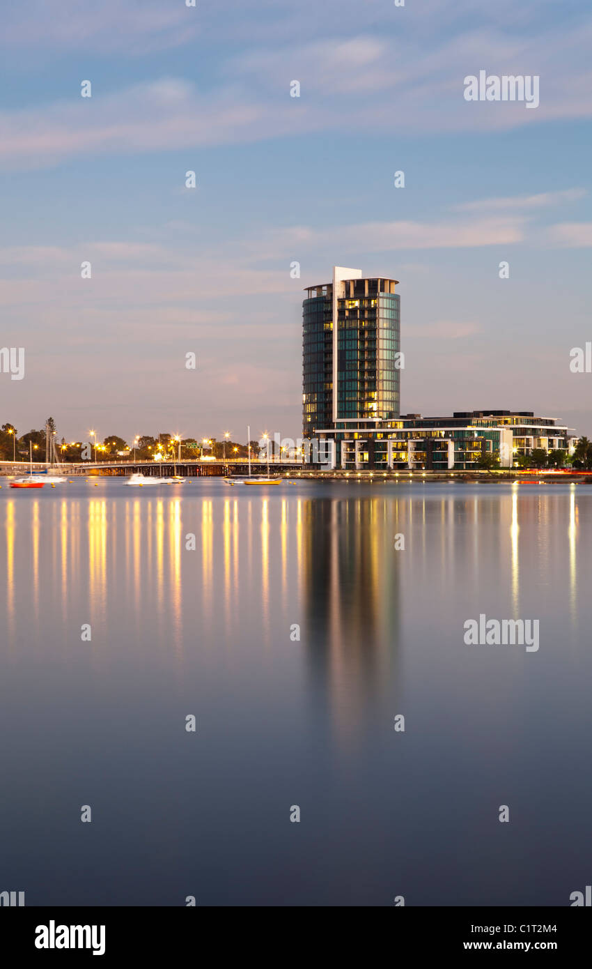 The luxury new Raffles Waterfront apartment building in Perth, Western Australia. - Stock Image
