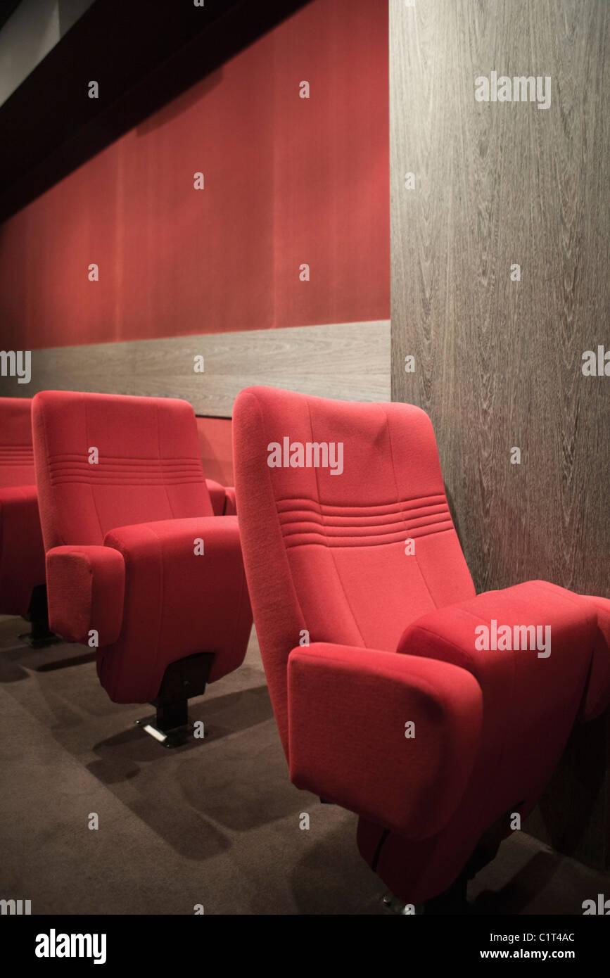 Empty seats in movie theater Stock Photo