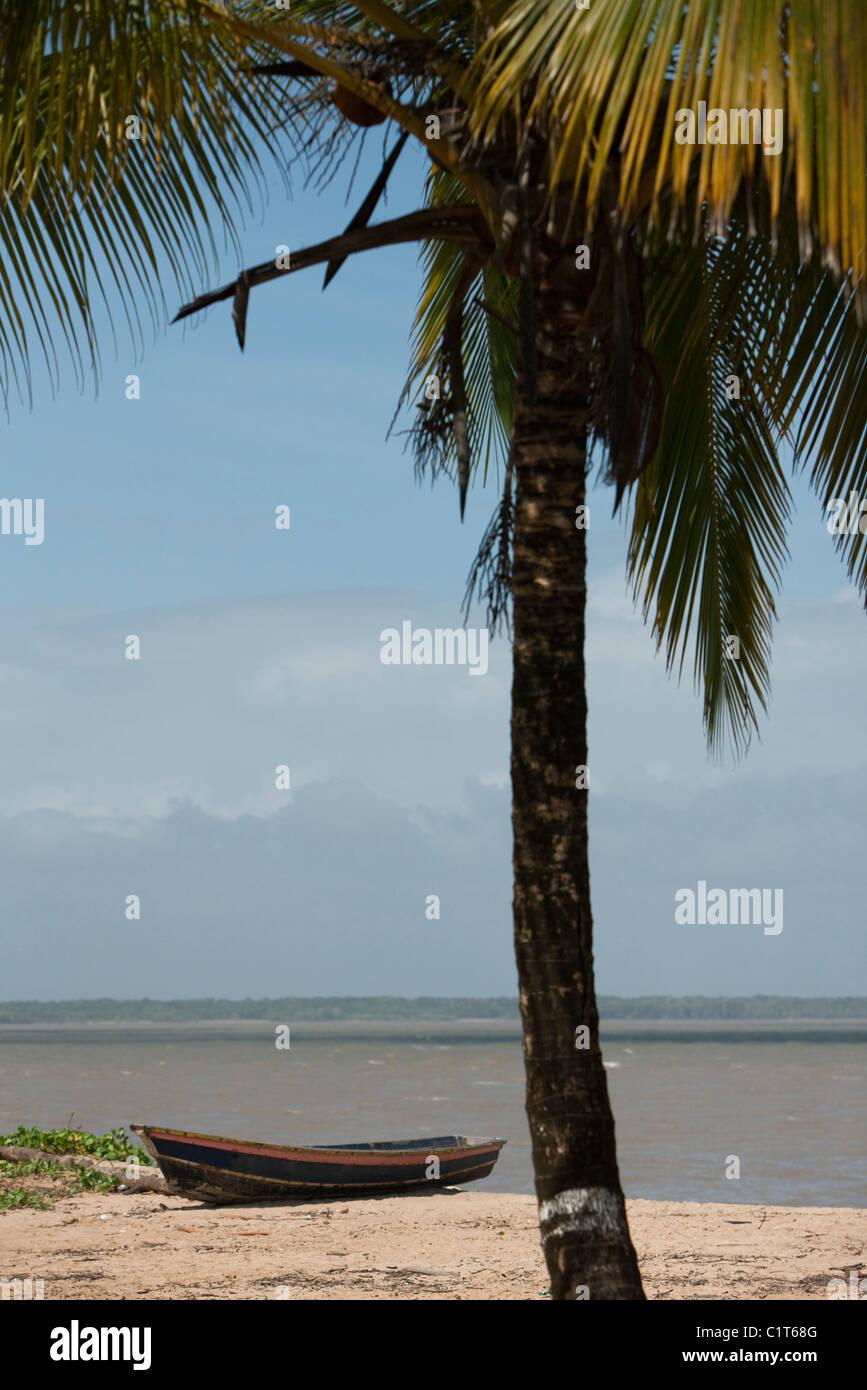 Canoe on sandy shore - Stock Image