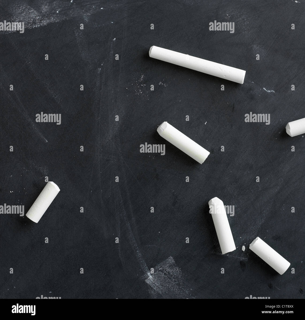 blank,empty blackboard and chalk ready for your copy or text - Stock Image