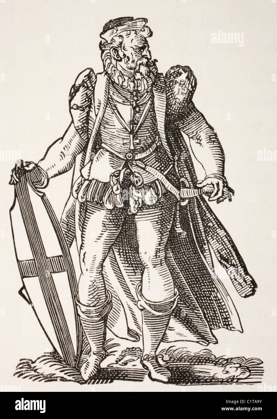Teutonic knight. After a woodcut by Jost Amman published 1585. - Stock Image
