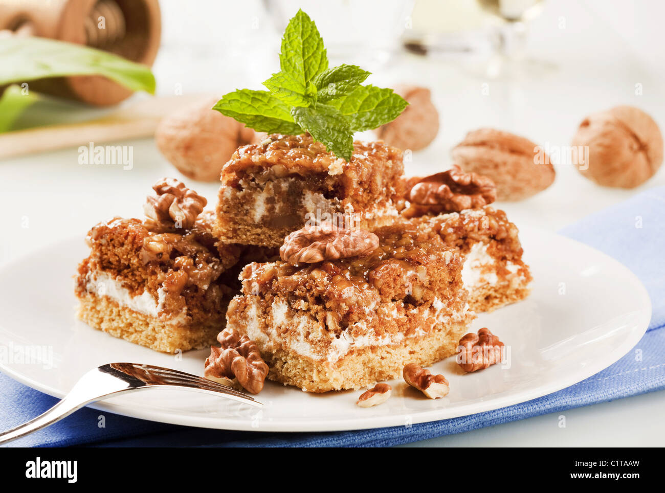 Slices of delicious walnut cake - detail - Stock Image