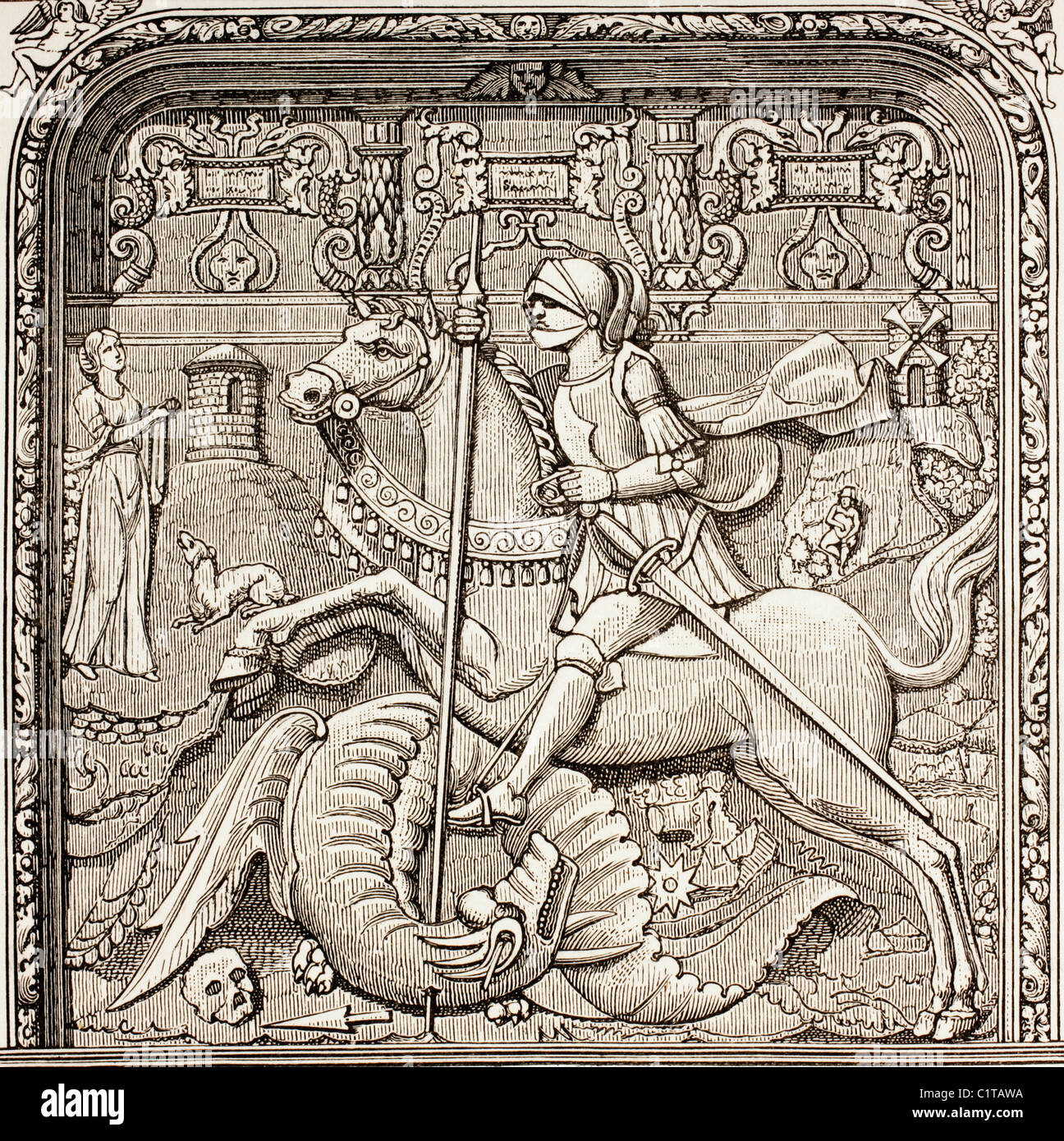 St. George slaying the dragon. After a detail of the tomb of Cardinal Georges d'Ambroise in Rouen. - Stock Image