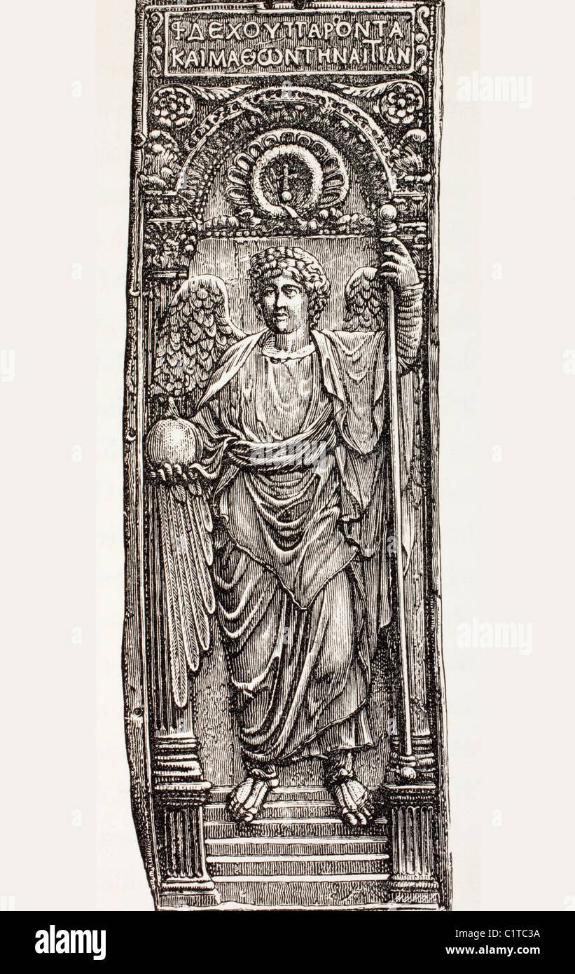 St. Michael the Archangel, Minister of God, offering a Byzantine Emperor a globe surmounted by a cross, symbol of - Stock Image