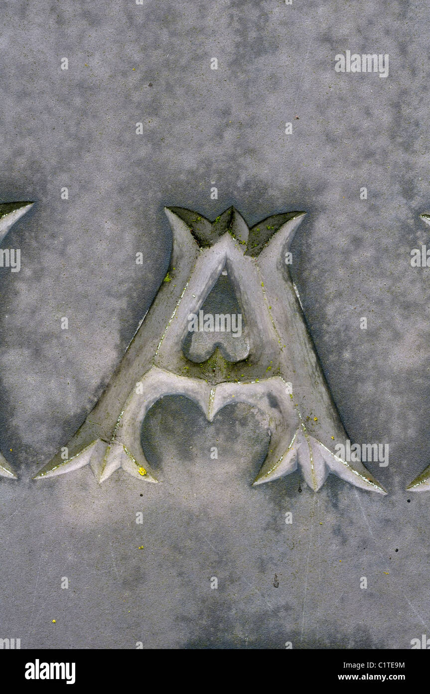 Letter A detail of slate gravestone, Leicestershire, UK - Stock Image