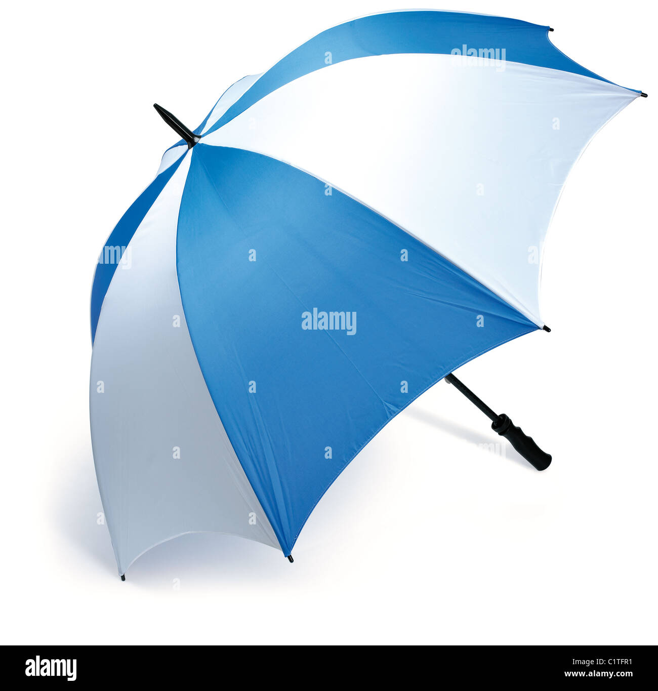 a large blue and white golf sport umbrella isolated on a white background with work path - Stock Image