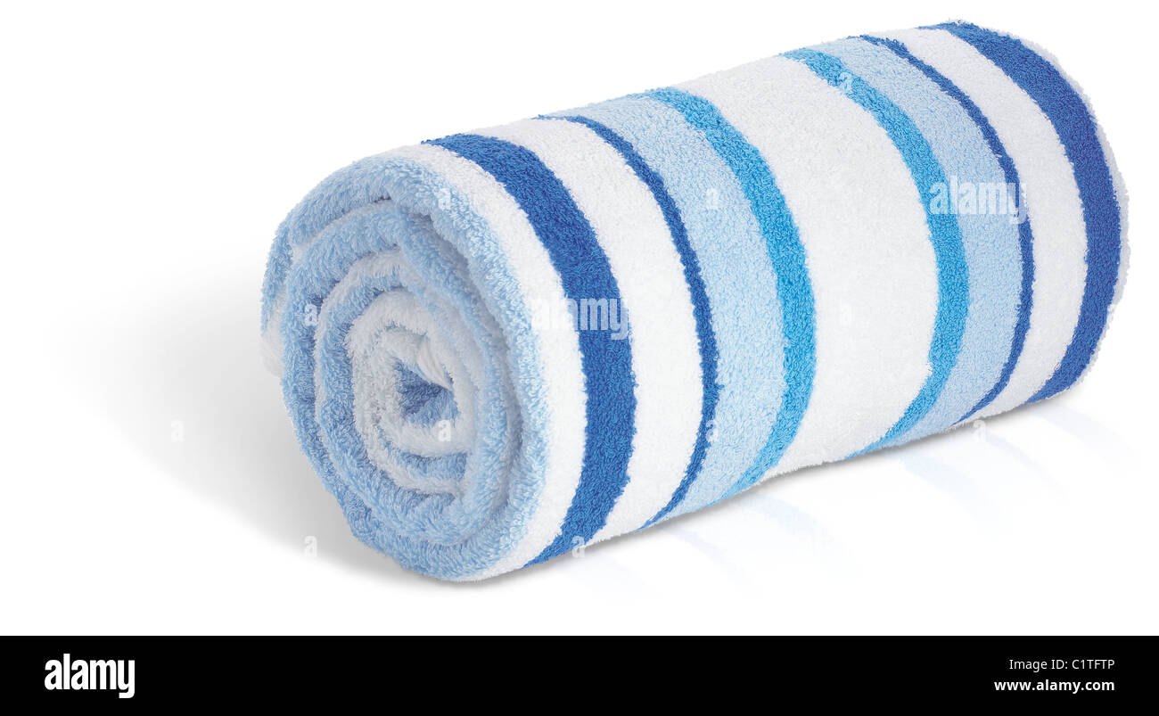 rolled up blue and white seaside beach towel isolated on a white background - Stock Image