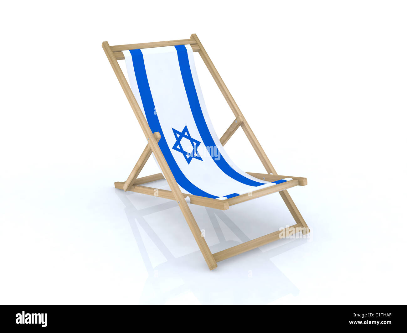 wood desk chair with israel flag 3d illustration Stock Photo