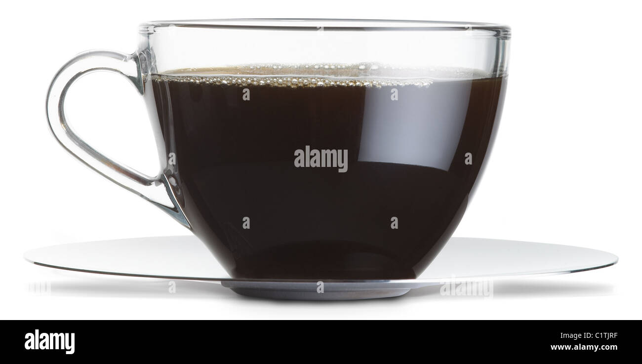 a glass cup of black coffee isolated on a white background with clipping path - Stock Image