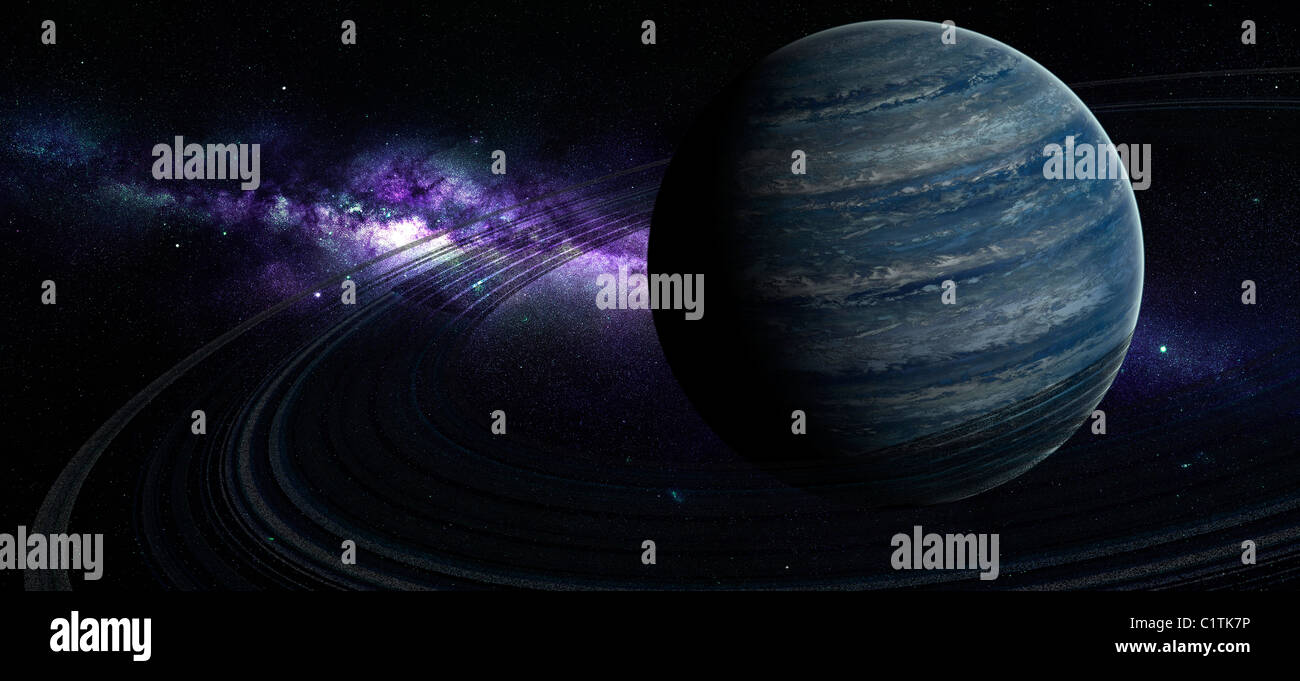 Artist's concept of a blue ringed gas giant in front of a galaxy. - Stock Image