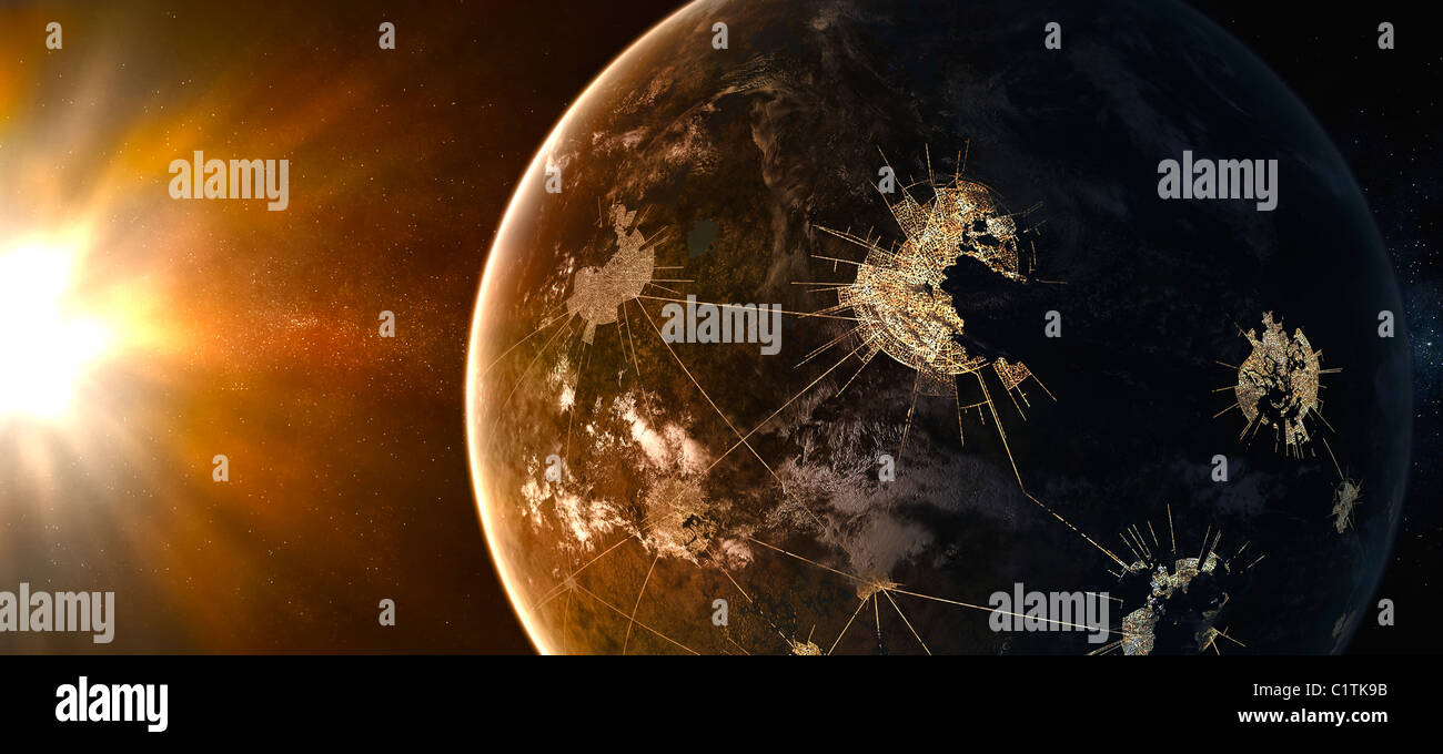 This planet is home to the capital of Asellus Secundus. Giant cities light the planet on the night side. - Stock Image
