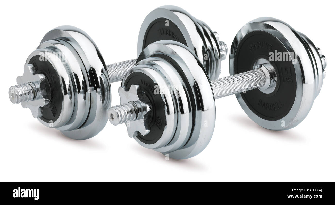 a pair of chrome dumbells weights isolated on white with a clipping path - Stock Image