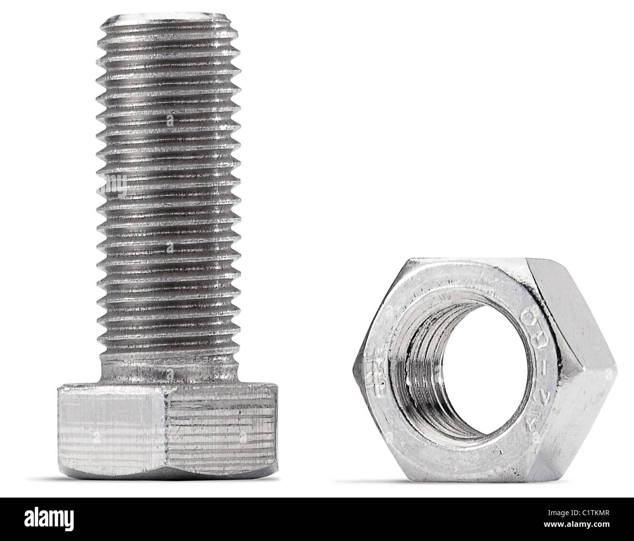 nuts and bolts on a white background with clipping path Stock Photo