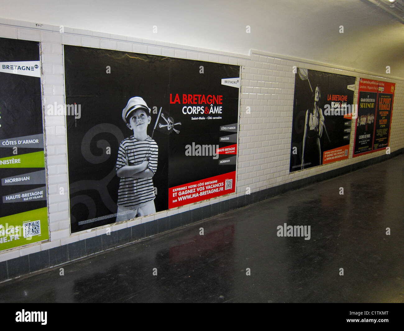 Paris, France, French Travel Advertising Posters in Hall, Metro ...