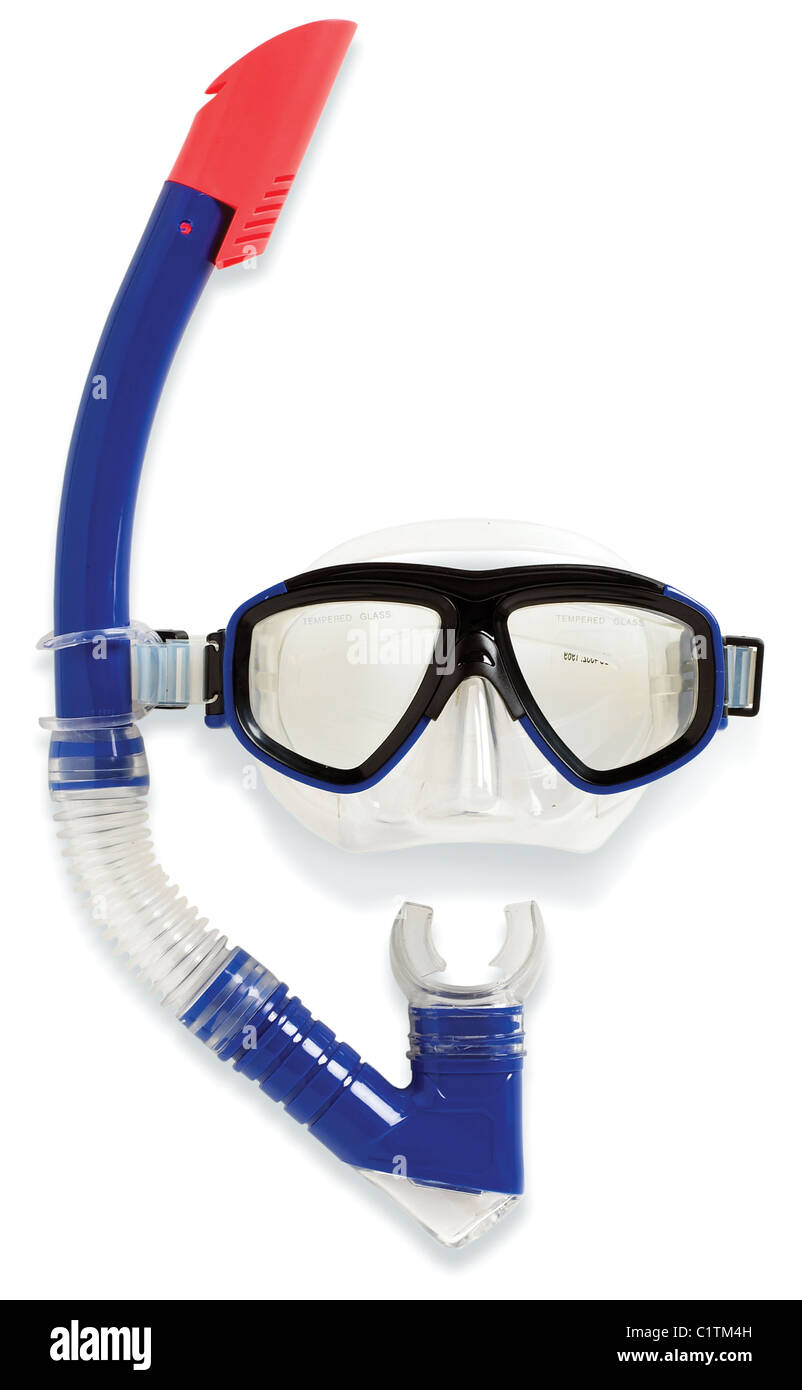 underwater diving snorkel and swimming mask isolated on a white background - Stock Image