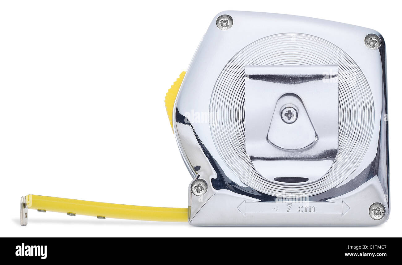 side view of a chrome tape measure with clipping path - Stock Image