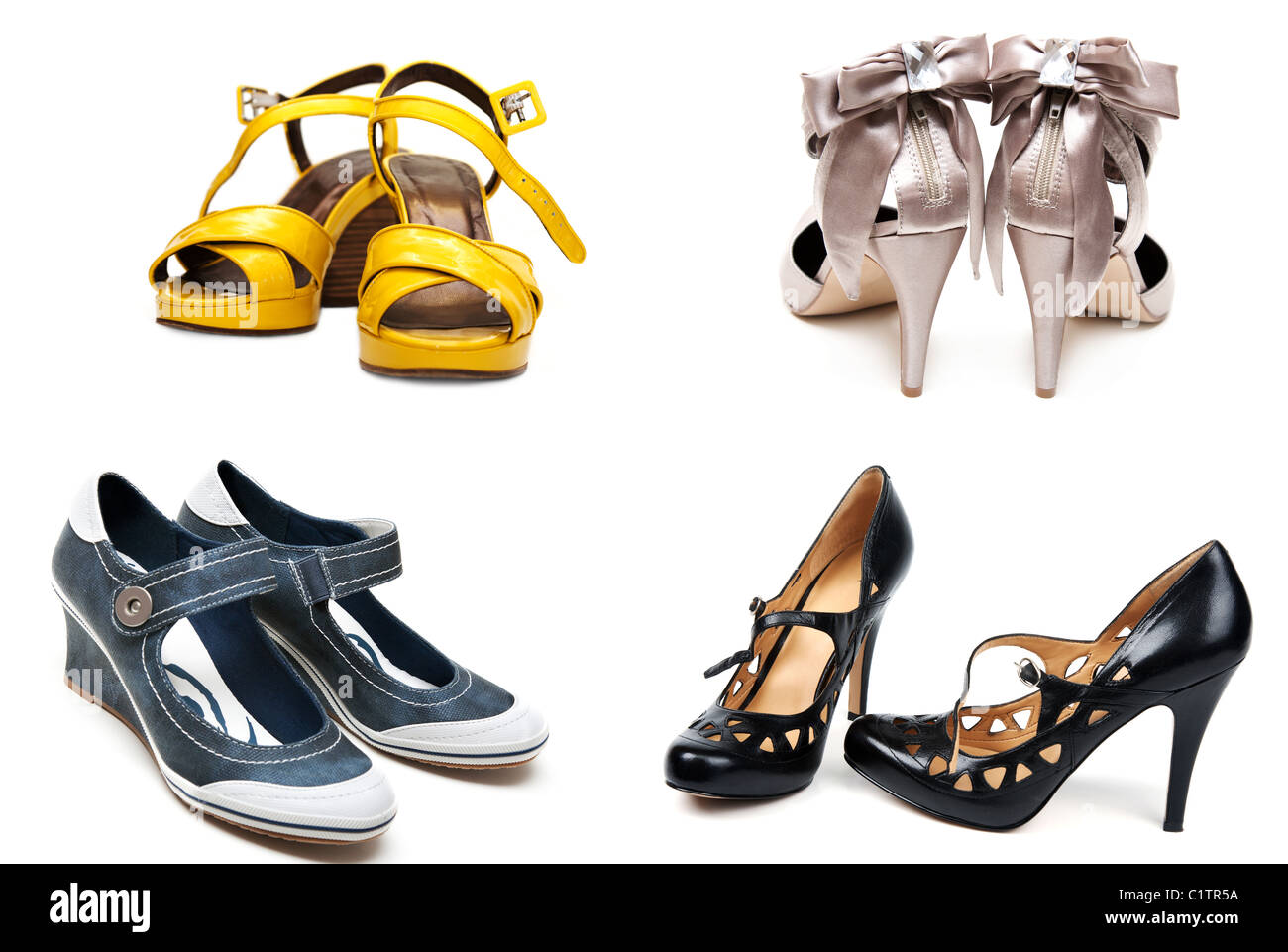 e569ef2a7f Collage from four pairs feminine loafers. Picture is formed from several  photographies - Stock Image