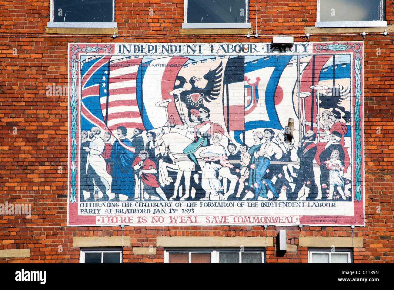 Independent Labour Party Mural Bradford West Yorkshire England - Stock Image