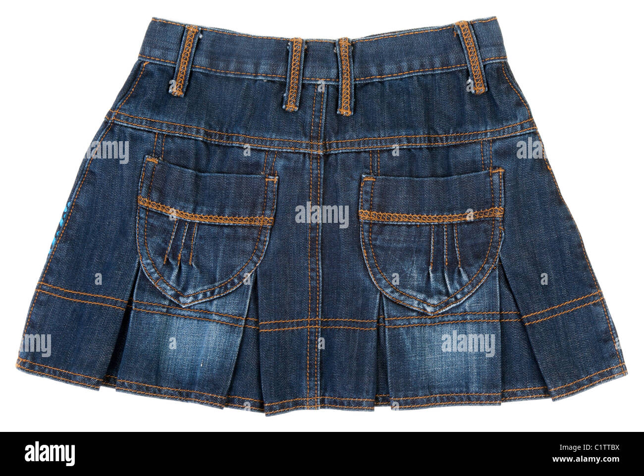 Jeans mini skirt insulated on white background - Stock Image