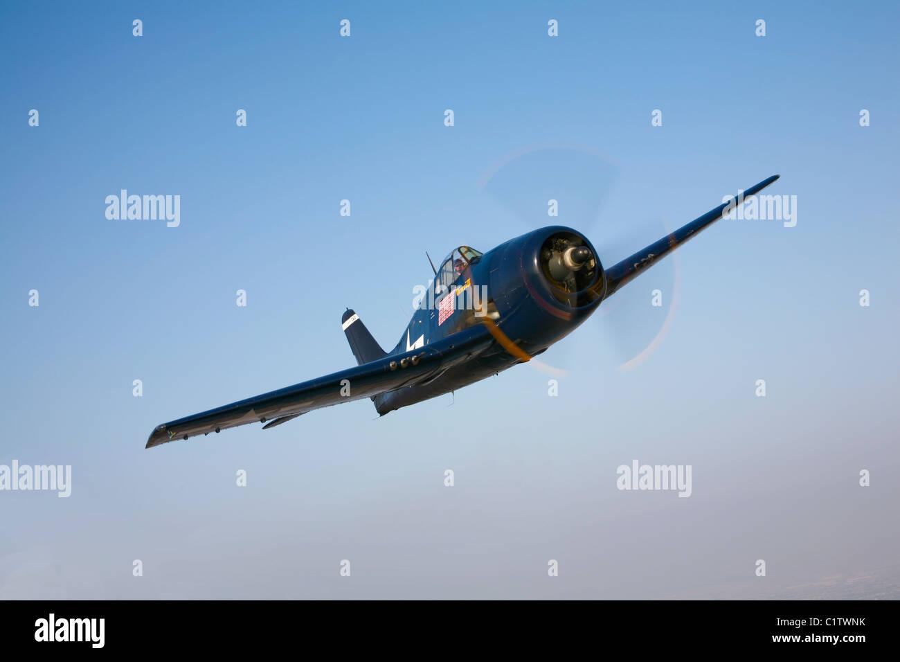 The Commemorative Air Force's F6F-5 Hellcat in flight near Chino, California. - Stock Image