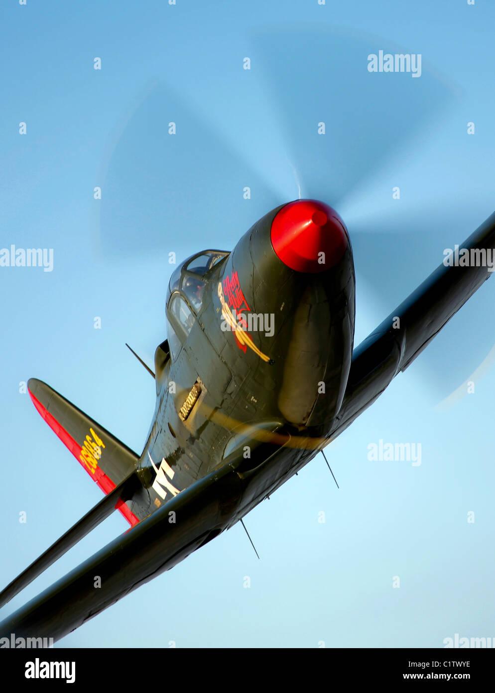 A Bell P-63 Kingcobra in flight near Chino, California. - Stock Image