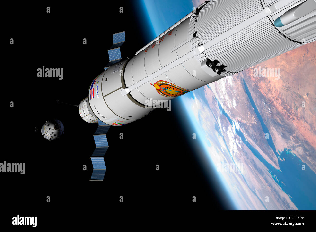 A command module approaches an awaiting rocket in Earth orbit. - Stock Image