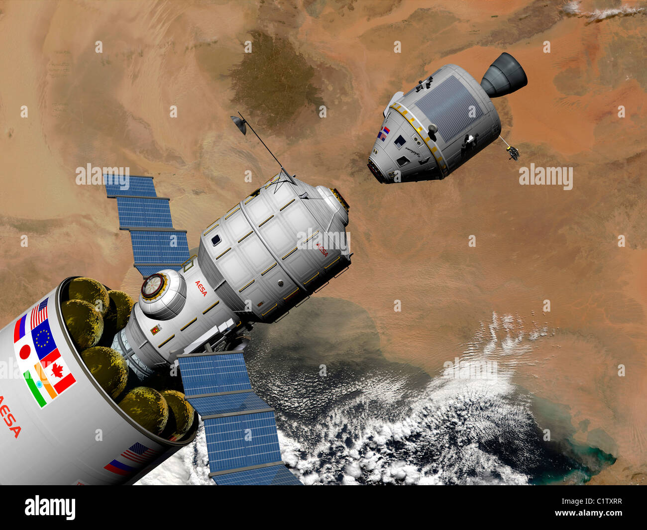 A command module prepares to dock with a Phobos mission rocket in Earth orbit. - Stock Image