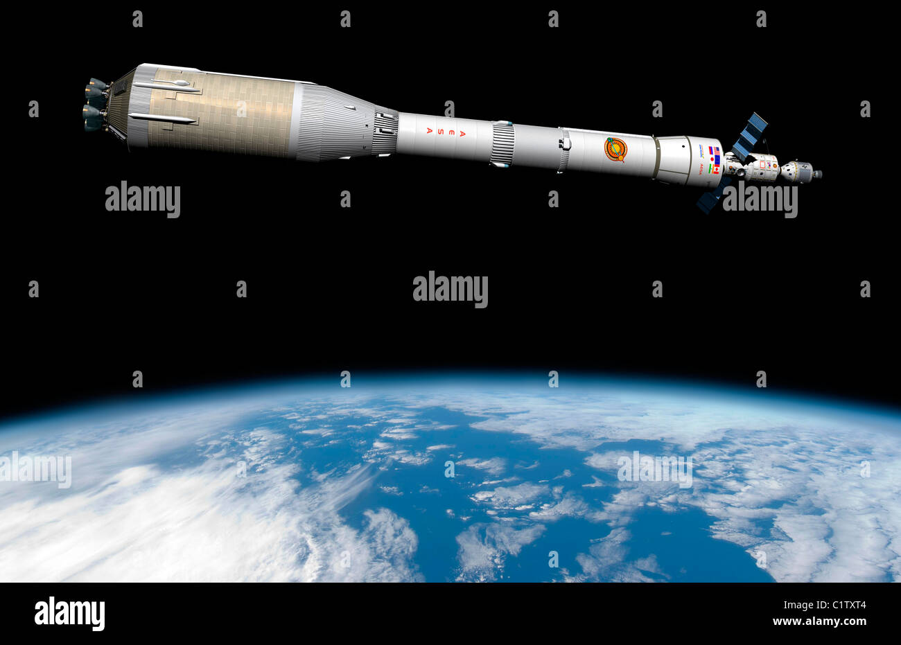 Phobos mission rocket system ready for departure. - Stock Image