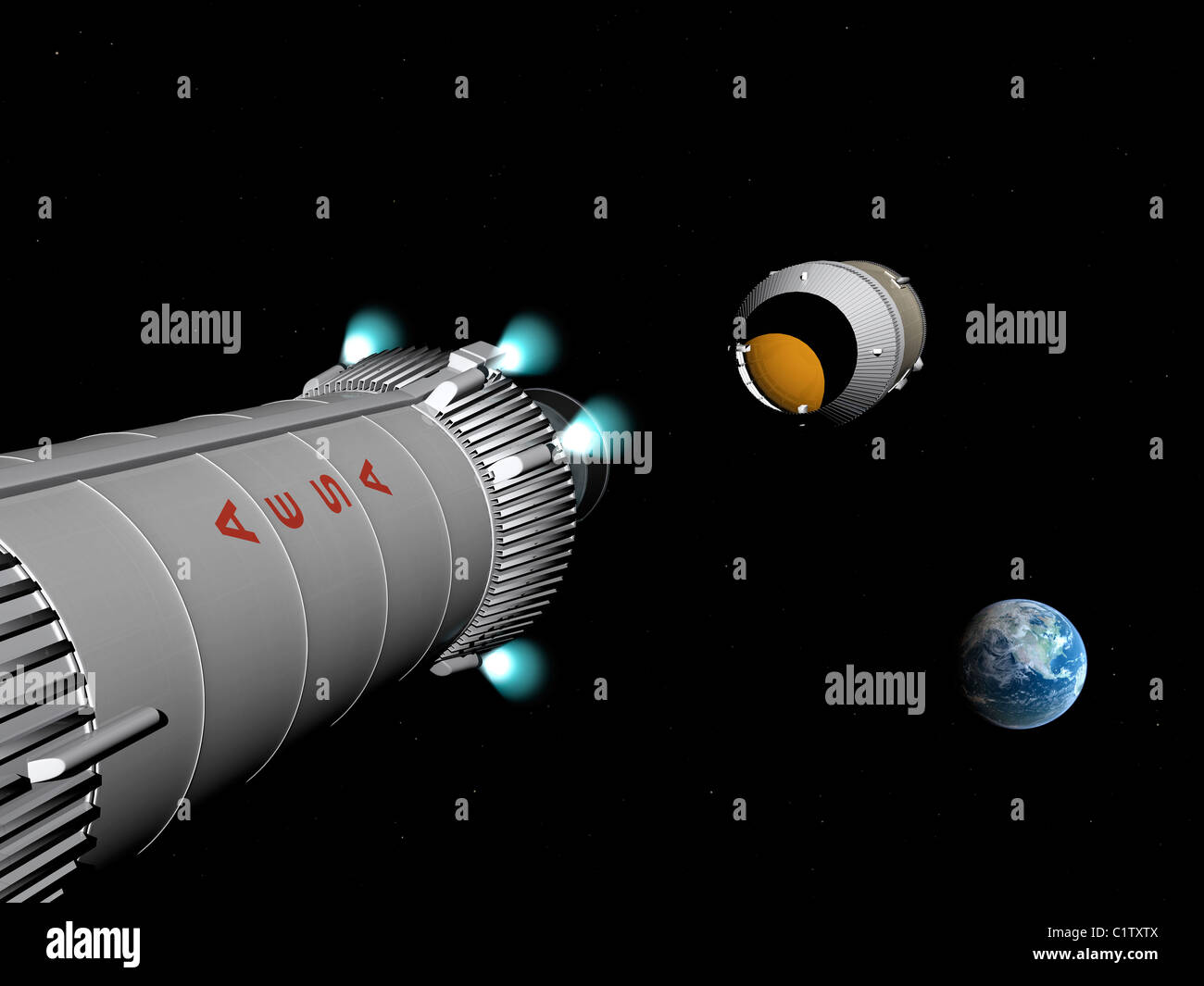 Phobos mission rocket releases spent propellant stage. - Stock Image
