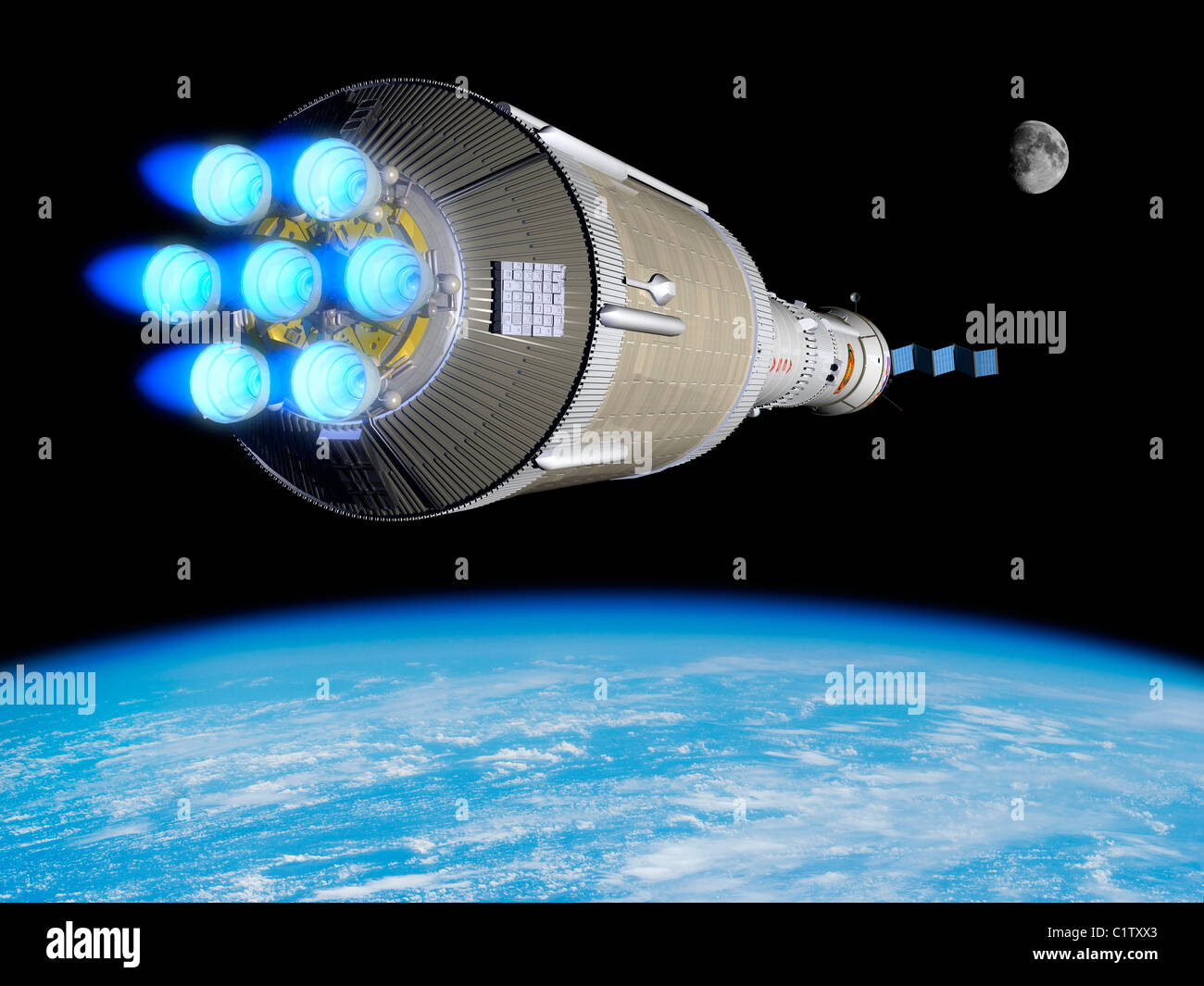 A Phobos mission rocket ignites its chemical thrusters. - Stock Image