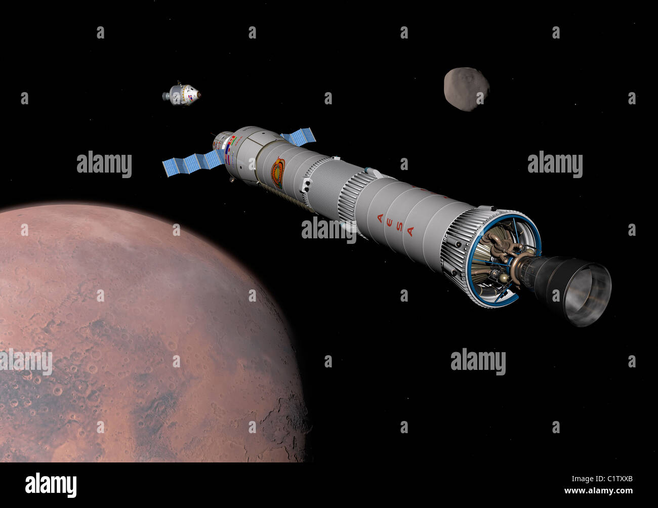 The Phobos mission rocket prepares for approach to the martian moon. - Stock Image