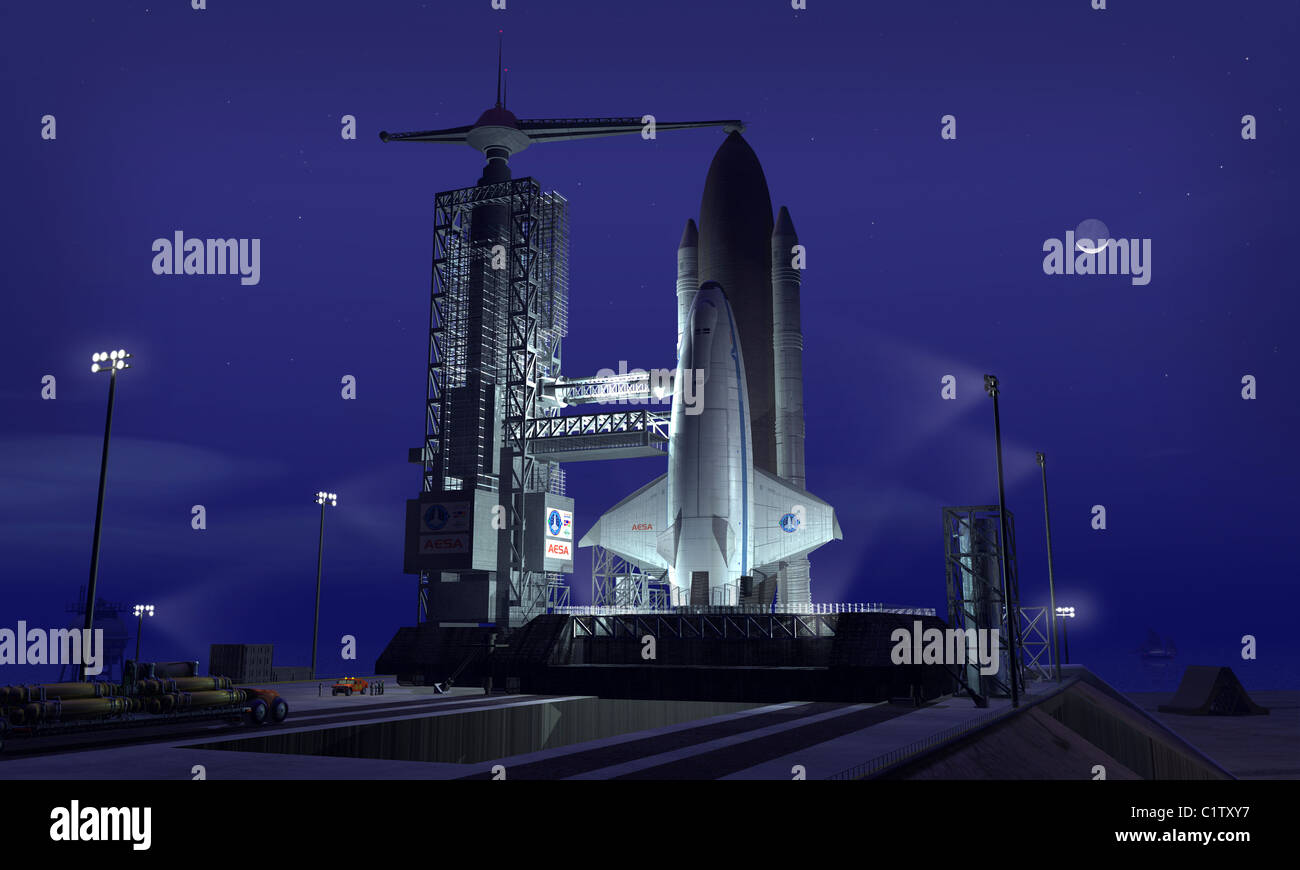 A futuristic space shuttle awaits launch. - Stock Image
