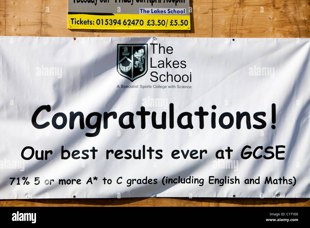 A banner outside the Lakes School in Windermere, celebrating the GCSE results. - Stock Image