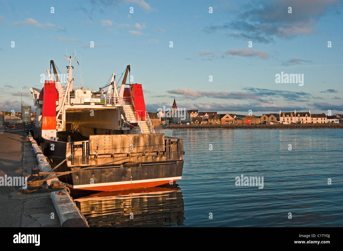 Car and passenger ferry Varagen moored in Kirkwall Harbour Orkney on a sunny June evening - Stock Image
