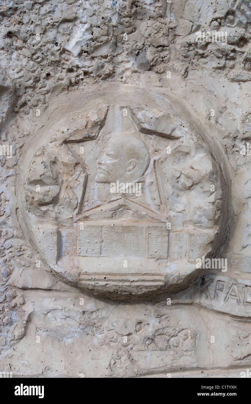 soviet star carving in Kislovodsk in the Russian Federation - Stock Image