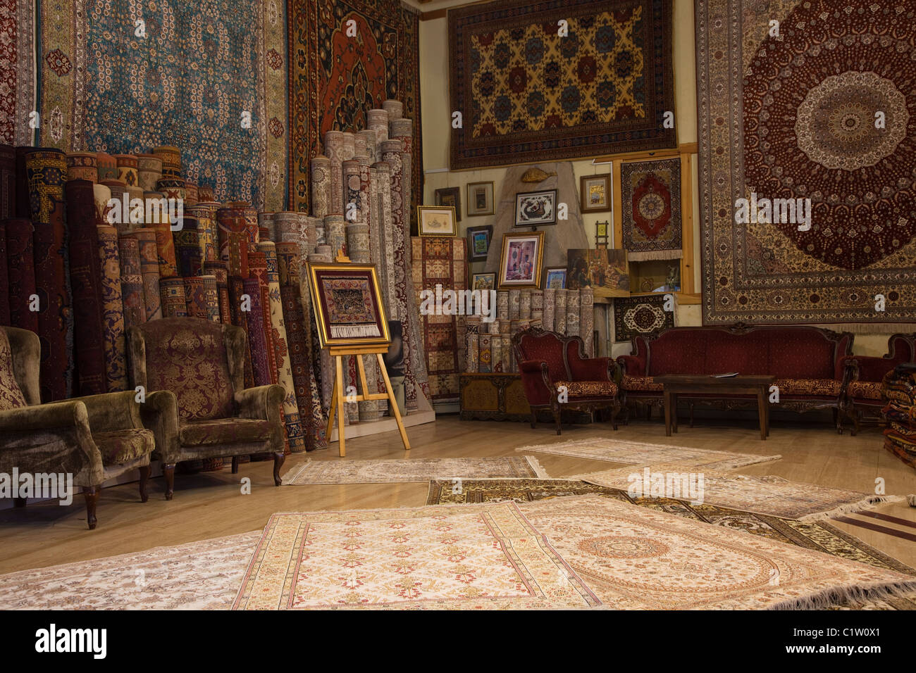 Interior Of A Carpet Bazaar Selling Turkish Carpets With Religuious And Traditional Motifs Antalya