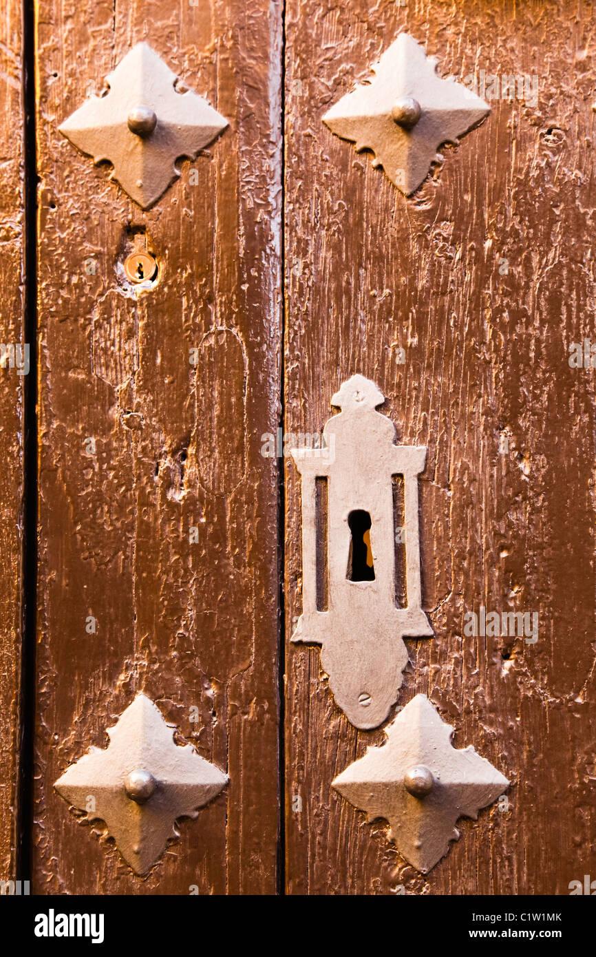 Detail of ancient door on Museo de Artes y Costumbres Populares, Malaga,  Spain. - Stock Image