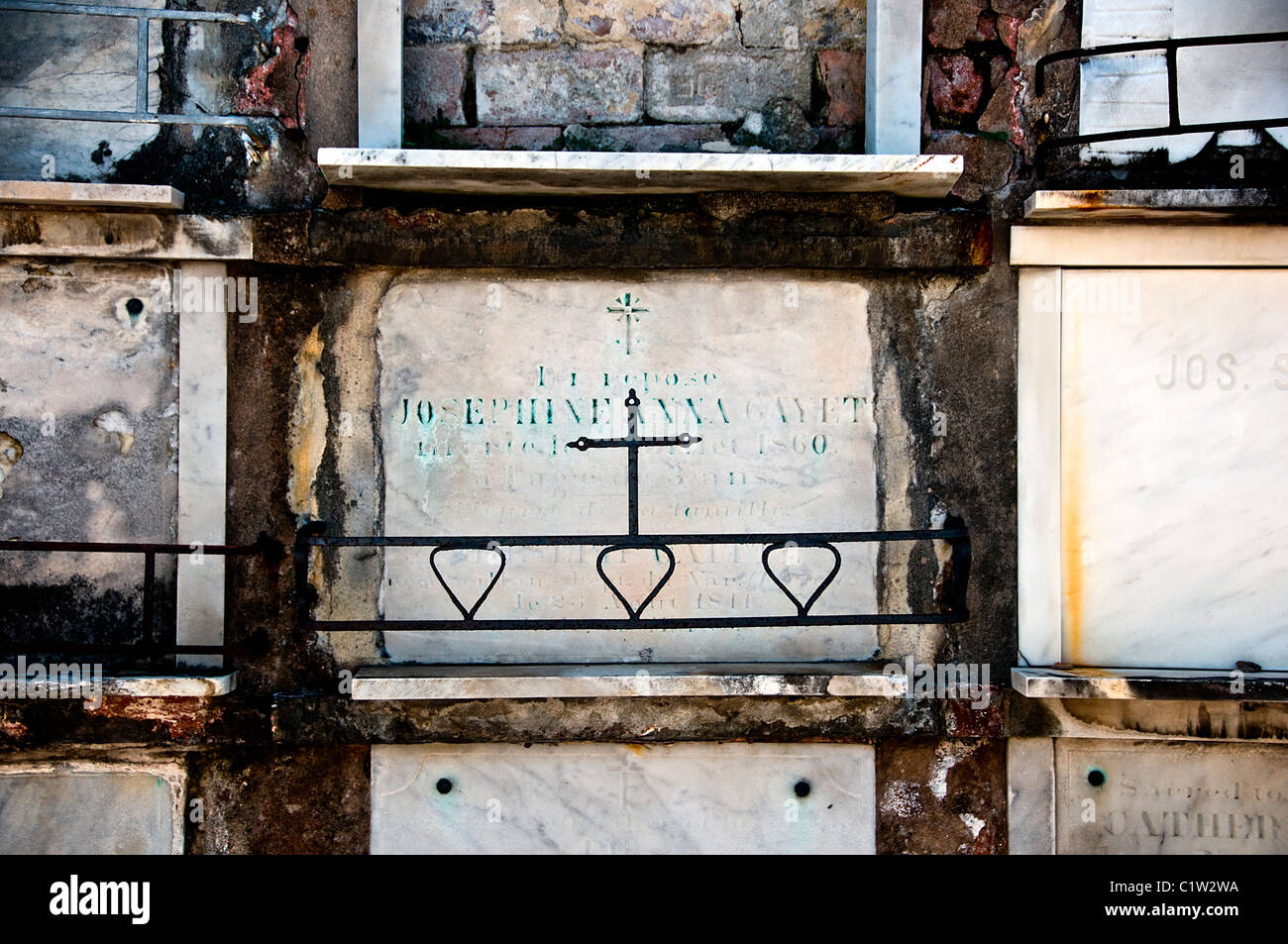 Ruins of a cemetery, St. Vincent De Paul Cemetery, New Orleans, Louisiana, USA Stock Photo