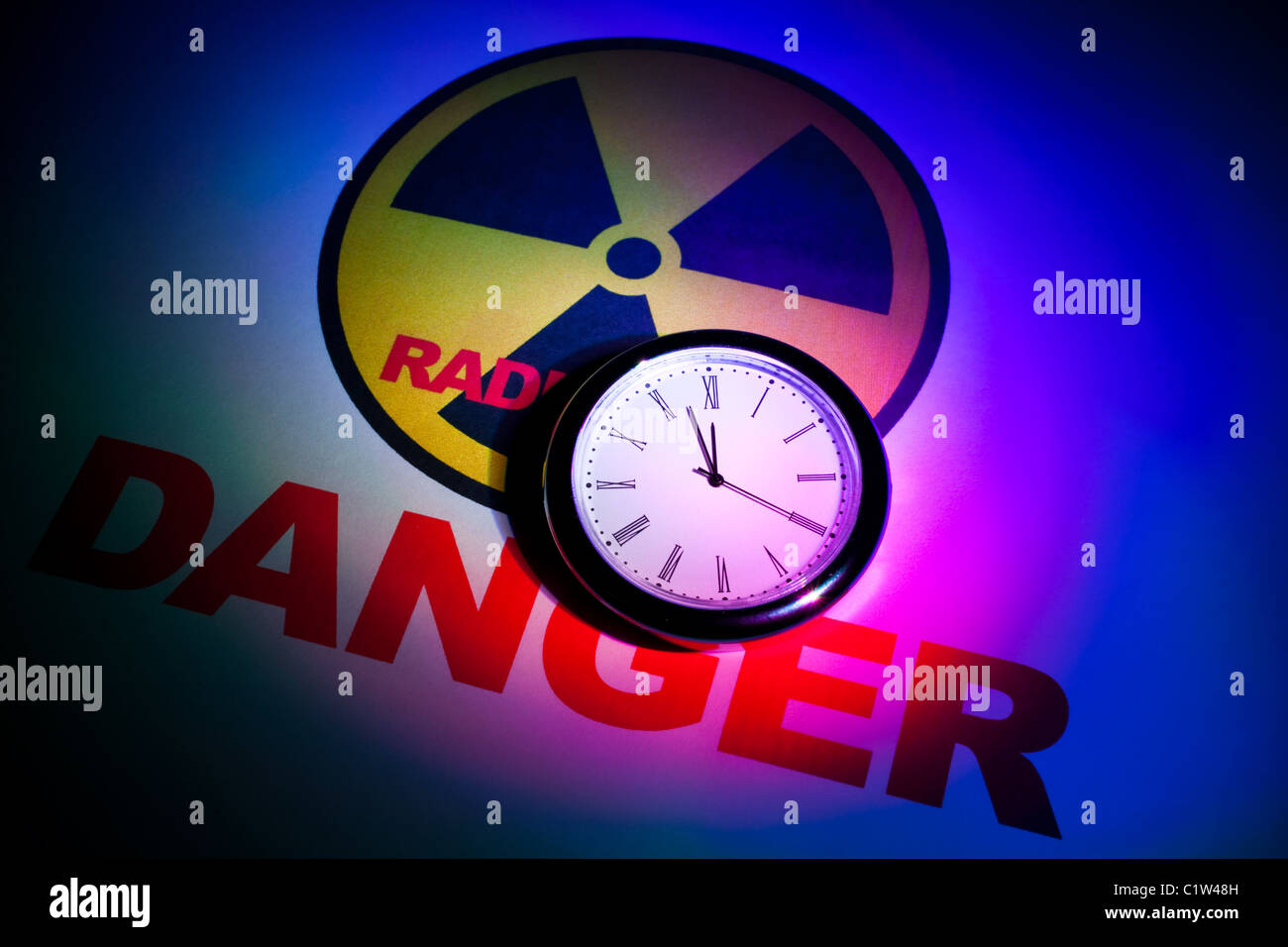 Radiation hazard sign for background Stock Photo