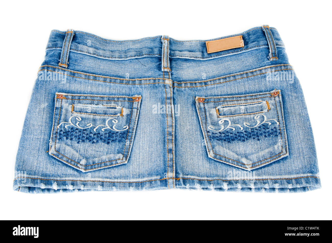 Jeans mini skirt on white background type behind - Stock Image