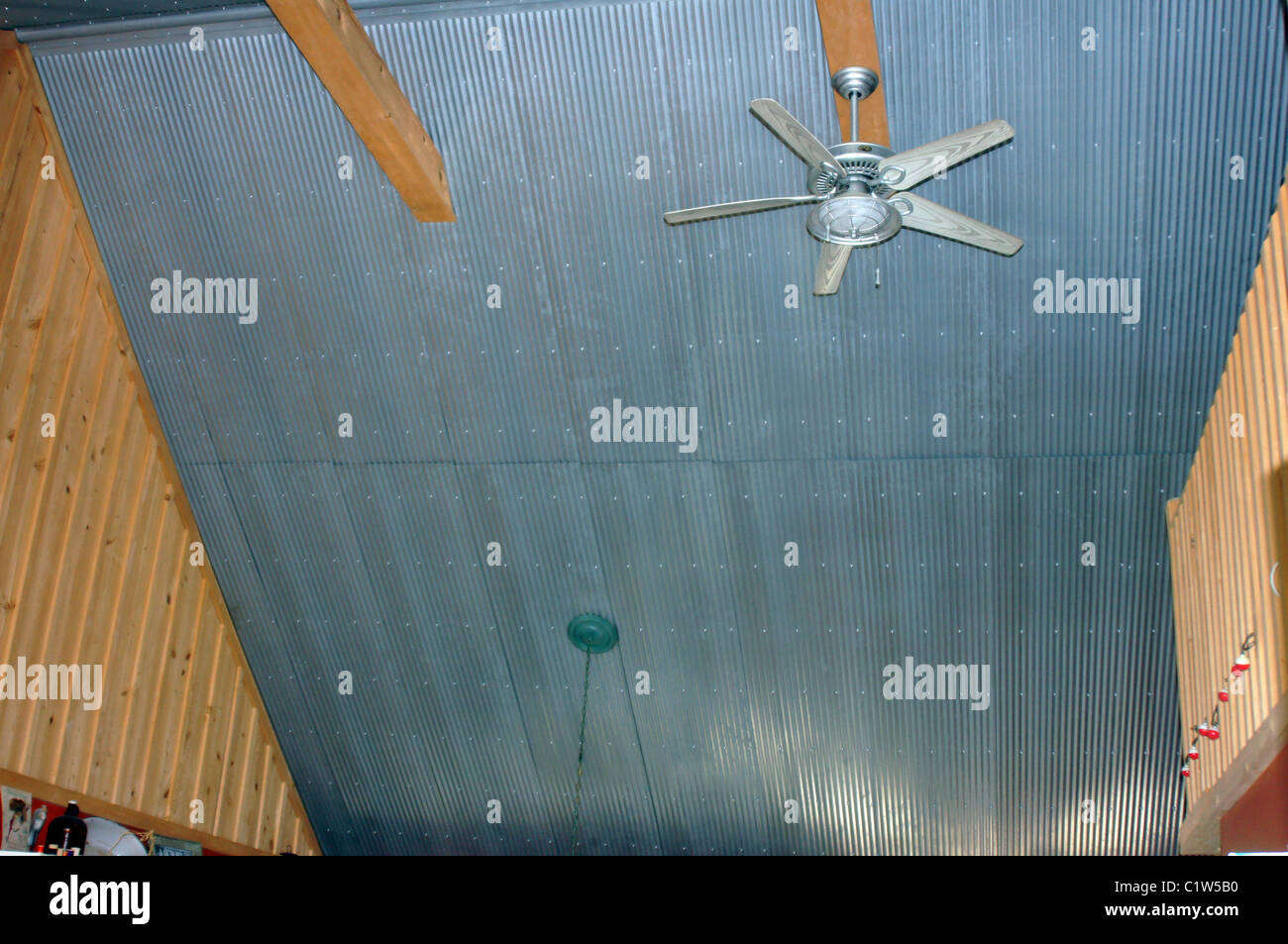 Photo Of A Corrugated Tin Ceiling And Ceiling Fan In A River Cabin In  Arkansas