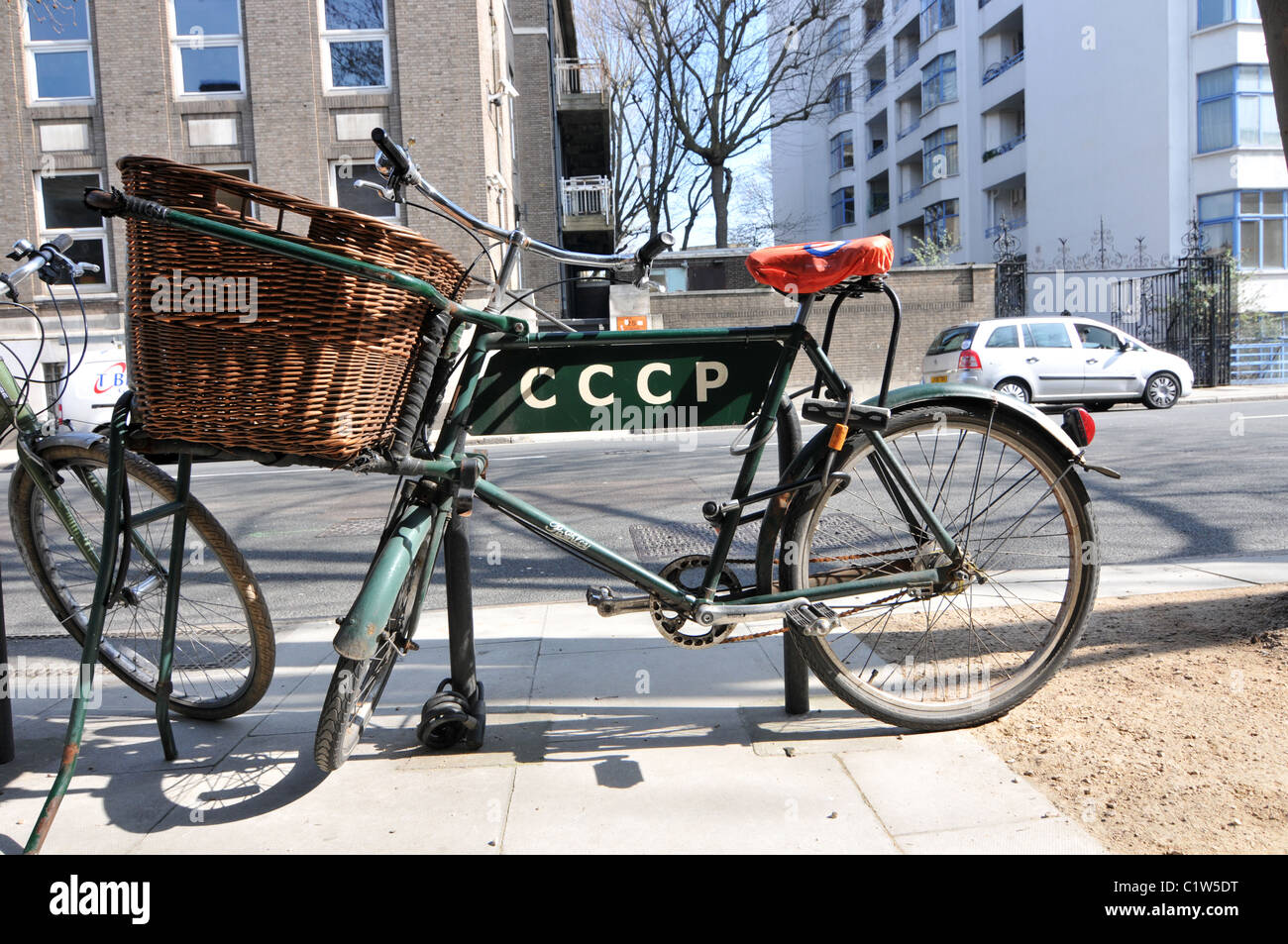 Delivery bike bicycle basket old fashioned CCCP - Stock Image