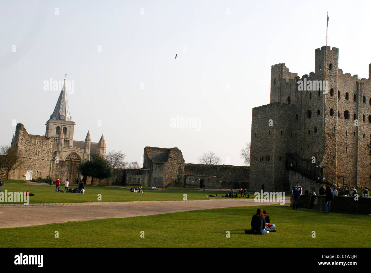 rochester castle and cathedral town kent uk 2011 Stock Photo